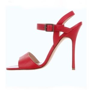 New! MANOLO BLAHNIK Red Leather Sandals